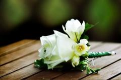 Freesia and rose buttonhole