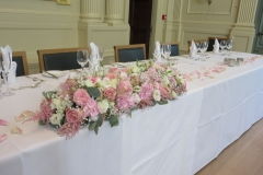 Massed top table flowers
